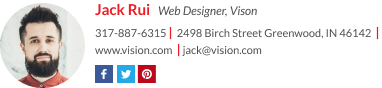 wisestamp email signature with a gif for web designer